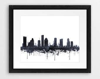 Houston Skyline Print, Houston Texas Cityscape, Houston Watercolor Grey Black And White, Modern Wall Art, Home Office Decor, Printable Art