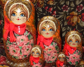 Russian matryoshka doll nesting babushka beauty girl Orange lady handmade