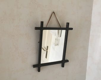 Small old wood mirror