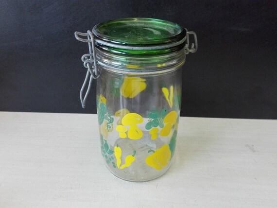 Glas vegetable pattern Weck jars, 1 liter, hermetic, made in Italy