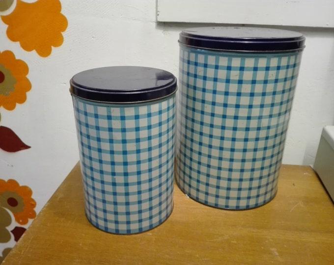 Set Blue striped tomado tins