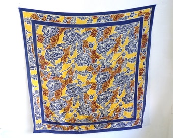 floral scarf, silk scarf, square scarf, flower scarf, neck scarf, 70s scarf, 1970s scarf, floral ascot, mad men, navy blue brown gold yellow