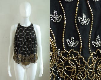 50%offJune27-30 bedead silk top size large, black gold silver bead blouse, 90s sleeveless fancy shirt, 1990s coldwater creek womens top