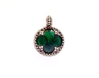 Small Malachite Silver Filigree Pendant VIKING KRISTALL Gotland