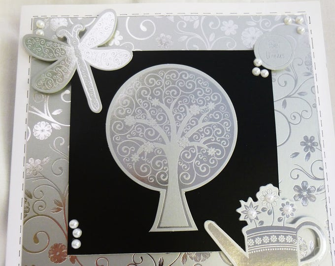 Anniversary Card, Birthday Card, Greeting Card, Wedding Card,  Black and Silver, Male or Female, A Couple, Any Age