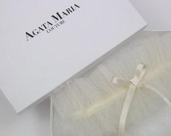 HOLLY, silk tulle cream pearl wedding garter, bridal shower garter gift set, bridal honeymoon lingerie