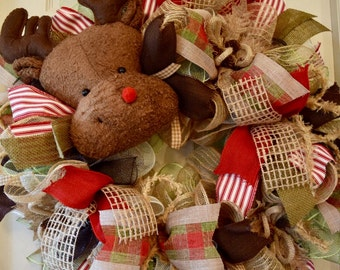 Reindeer Head and Legs Jute Burlap Mesh Ruffle Christmas Wreath with Burlap Poinsettias and PineCones; Winter Holiday Wreath Christmas Decor