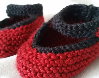 Ladybug Mary Jane Baby Booties