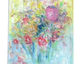 "Abstract oil painting ""Floating flowers"""