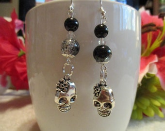 Skull Charm Black And Silver Glass Bead Earrings