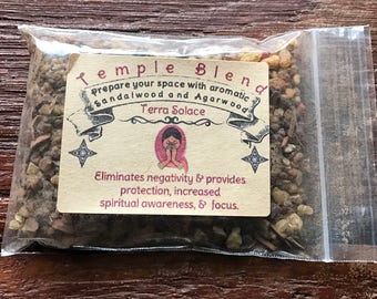 Handmade Resin and Precious Woods Incense, Temple Blend 15 or 30 Grams