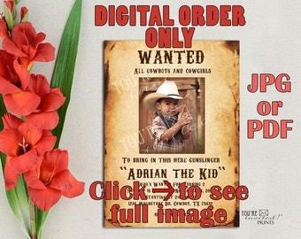 "Digital Invite -Cowboy birthday invitations, Wild wild west invitation, Vintage ""Wanted"" theme birthday invitation, Printable DIY"