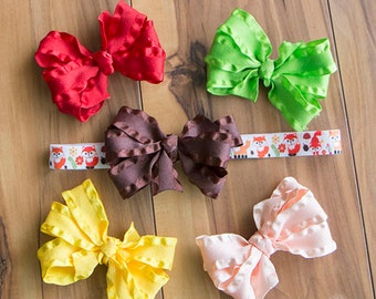 Fox Elastic Headband/ Hair Bow Set, Fox Headband, Ruffle Hair Bow, Baby Girl Gift Set, Interchangeable Headband, Girls Woodland  Bow Set