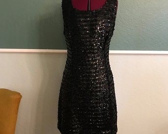 1960s Mod Mini Black Sequin Shift Dress S-M