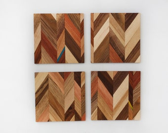 Drink coasters in various recycled hardwoods and skateboards, coaster set of 4, geometric coasters, eco-friendly, housewarming gift
