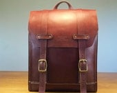 Leather Backpack Italian Vegetable tanned leather back pack Rucksack Laptop backpack Retro style Handstitched leather backpack