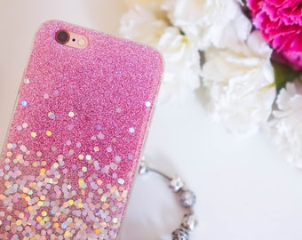 Pink Holo glitter iphone 6 case glitter iphone 6s case glitter iphone 6 plus case glitter iphone 6s plus case glitter iPhone SE case glitter