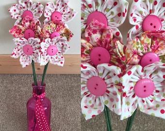 Beautiful pink fabric vase flowers