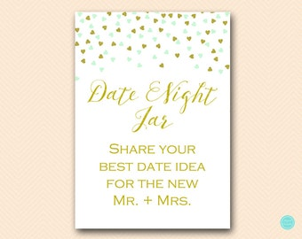 Mint and Gold Bridal Shower Games, Date Night Cards, Date Night Ideas, Date Night Bridal Shower, Date Night Game, Bridal Shower Game,  BS488