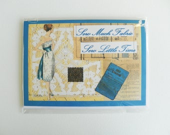 Vintage Sewing Greetings Card