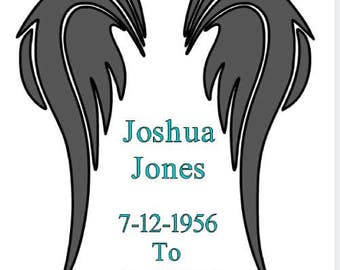 Wings Vinyl Decal Car Angel Memorial Name and Birth Death Dates Sticker