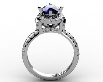 French Platinum 1.0 Ct Blue Sapphire Diamond Solitaire Engagement Ring R1096-PLATDBS