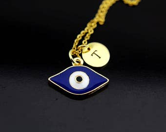 Gold Evil Eye Charm Necklace, Evil Eye Jewelry, Evil Eye Charm, Evil Eye Jewelry, Personalized Necklace, Initial Charm, Initial Necklace