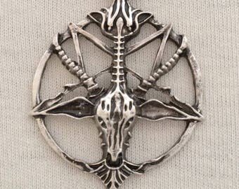 BAPHOMET Men's Pendant made with copper and Silver Plate 28 inch ball chain, And it's him Reverse Pentacle and all.Wear this to darker gigs