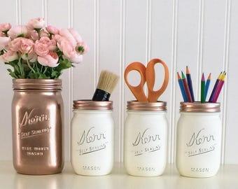 Painted Mason Jars, Distressed Mason Jar, Rose Gold Mason Jar, Desk Organizer, Pencil Holder, Rose Gold And White Desk Set, Bathroom Decor