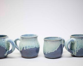 stoneware mugs, ceramic mugs, wheel thrown mugs, coffee mugs, tea cups, blue violet and white mugs