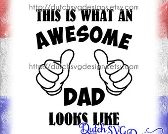 Cutting file Awesome Dad, in Jpg Png Studio3 SVG EPS DXF, Cricut svg, Silhouette svg, dad svg, daddy svg, fathers day svg, awesome dad svg