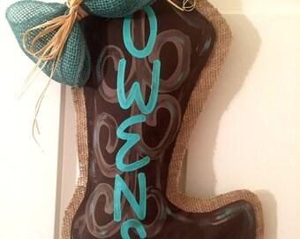 Cowboy Boot Burlap Door Hanger; Cowboy boot door hanger; personalization included
