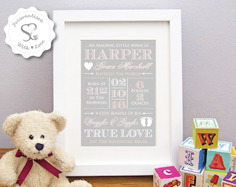 Personalised Vintage Wood Effect Baby/Birth/Christening Print or Framed Print Boy/Girl Newborn Stats/Nursery Art/Picture Gift -FREE SHIPPING