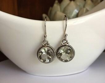Mint Green Amethysts Earrings,Prasiolite earrings,Gemstone,Short earring,925 Sterling Silver,Gifts for her,Semi-precious,Stones earrings
