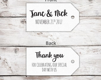 Printed Wedding Favor Tags - Pack of 10 - Thank you for celebrating with us - Wedding Favor Tags - Custom Tags -Wedding Favor Ideas