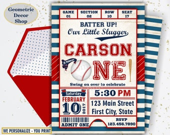 First Birthday invitation Vintage Baseball Sports Invite 1st All star invitations One Ball red blue boy photo photograph ticket BDSP11