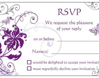 10 RSVP CARDS reply cards purple and silver butterflies to include with wedding invitations gif cards