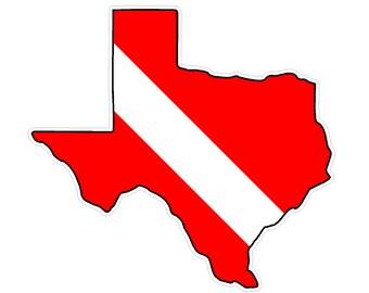Texas State (Y2) Diver Down Flag Vinyl Decal Sticker Car Laptop/Netbook