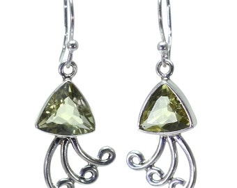 Lemon Quartz Earrings, 925 Sterling Silver, Unique only 1 piece available! color yellow, weight 4.8g, #24979