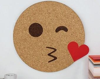 Emoji Memo Board - Cork Board - Notice Board - Emoji Kissing Heart Pin Board - Emoji Notice Board - Memo Board - Cork Memoboard - Deskie