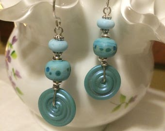 Unique Artisan Crafted Pale Teal Blue  & Polka Dot Lampwork Glass  Dangle Earrings