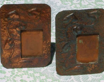 A Pair of Vintage Copper Photo Picture Frames in the Art Nouveau Style.
