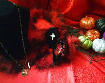 Coffin Jewelry Box with Little Red Riding Hood Necklace