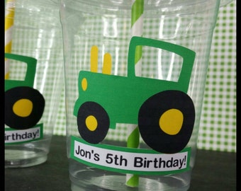 12 Personalized Tractor Themed Party Cups with Straws and Lids!, Tractor Plastic Party Favors