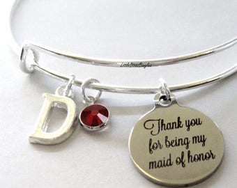Thank You For Being My Maid of Honor Charm Bracelet W/ Birthstone Drop /  Maid Of Honor Bangle / Wedding Party Gift For Her USA # S1 - 05