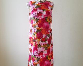 Vintage Dress, vintage clothing, vintage summer dress, vintage custom made dress, custom made dress, summer dress, floral print dress