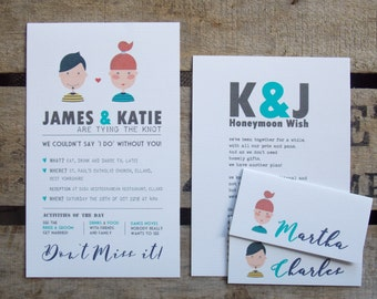 Rustic Vintage Wedding Invitations Boy and Girl Set