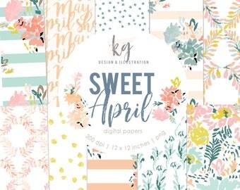 Sweet April 16 Digital Papers, Spring Watercolor Digital Pattern Scrapbook Paper Pastel Mothers Day Pink Peach Digital Scrapbook Paper