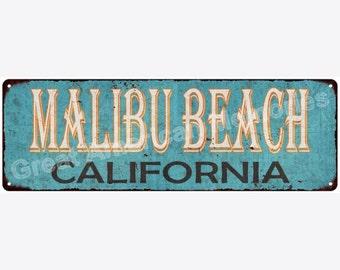 Malibu Beach California Blue Vintage Look Reproduction Metal Sign 6x18 6180337