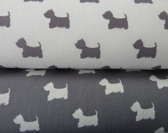 Dog Print Fabric - Scotty Dogs. Westies, Cairn Terrier. Grey & Ivory 100% Cotton Poplin. Quilting, Dressmaking, Soft Furnishings, Crafts etc